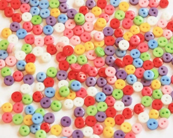 50 Micro Mini Buttons - 6mm - Mixed Color - Resin Buttons - Multi Coloured - 2 holes for sewing - Tiny Buttons - RS01