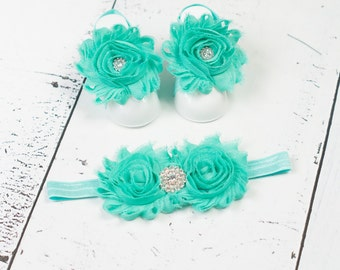 BUY 2 GET 1 FREE---Baby Barefoot Sandals w/ matching headband, Baby Barefoot Sandals, Baby Sandals, Baby Headband, Baby Shoes