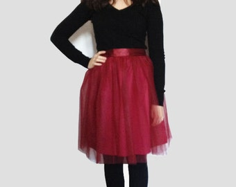 Bordeaux Tulle Skirt Hollywood  (more colors available)