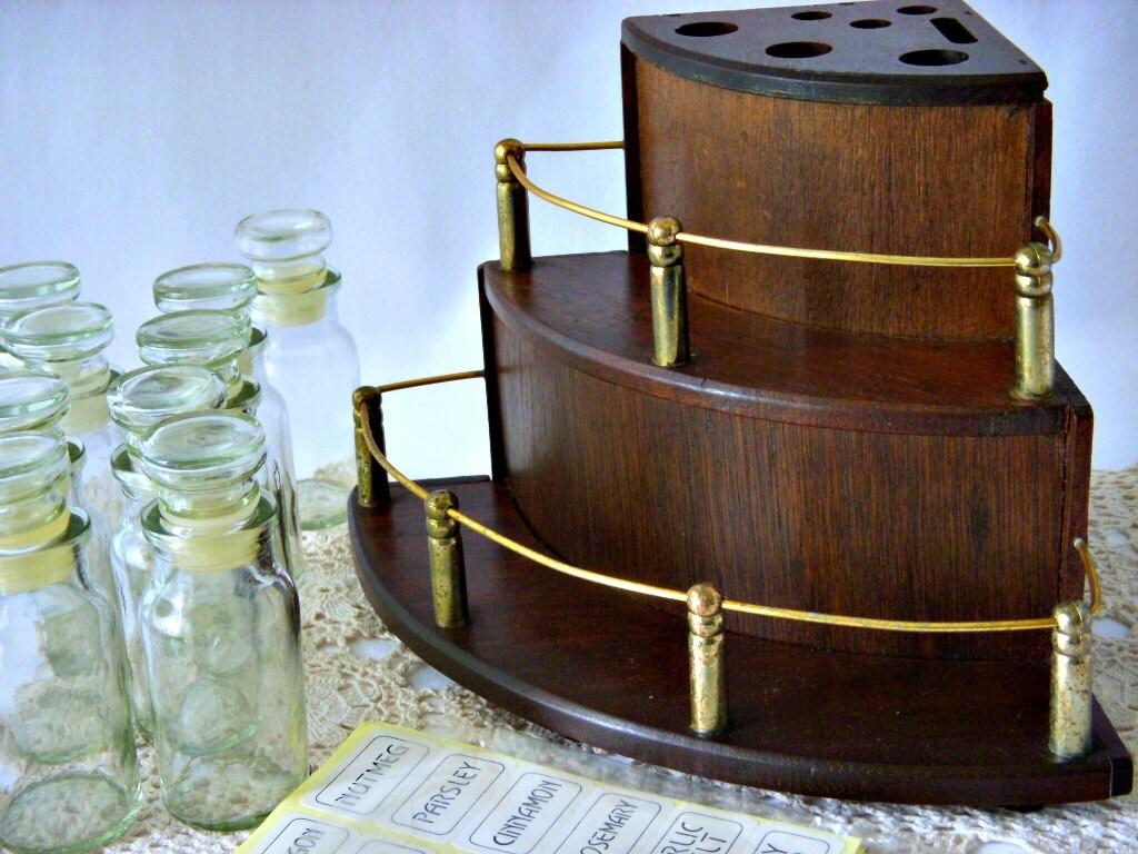 Vintage Corner Shelf Spice Rack Black Walnut Kitchen Counter