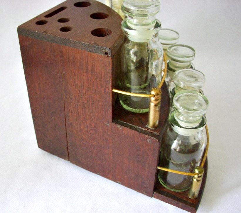 Corner Spice Rack: Vintage Corner Shelf Spice Rack Black Walnut Kitchen Counter