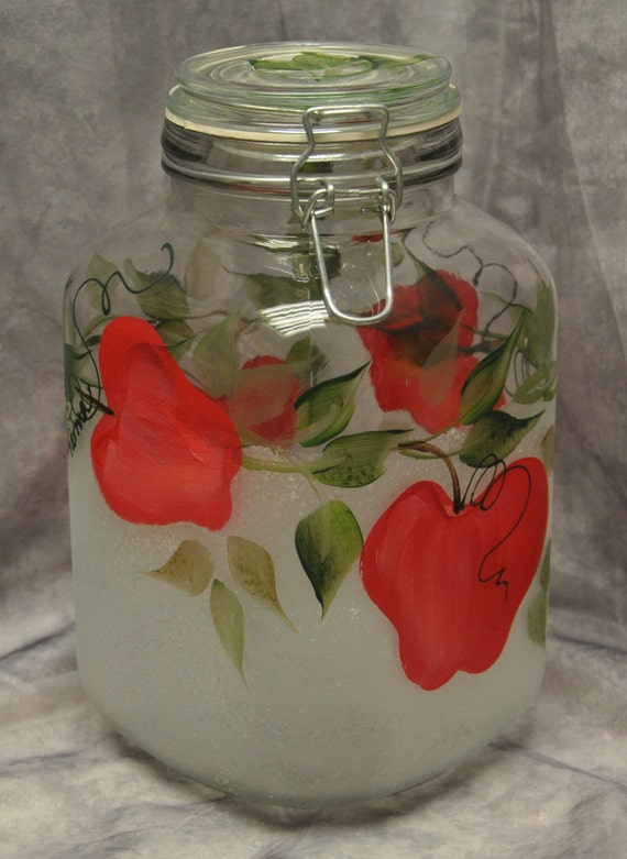 hand painted red apples kitchen canister. Black Bedroom Furniture Sets. Home Design Ideas