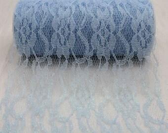 "6"" Light Blue Sparkle Lace Ribbon - 10 Yards"