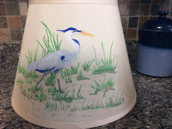 hand painted blue heron lamp shade. Black Bedroom Furniture Sets. Home Design Ideas
