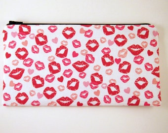 Red Kisses Zipper Pouch, Pencil Pouch, Make Up Bag, Gadget Bag