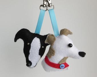 Greyhound dog hand sewn felt bag charm