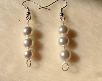 White Earrings, White Bead Earrings, White Dangly Earrings, White Jewellery, White Drop Earrings, Bead Earrings, Gift Ideas, Prom Earrings