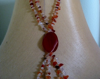 SALE: Red Madagascar Agate + Red Carnelian Agate Necklace Red Agate Necklace Red Madagascar Necklace Red Carnelian Agate Necklace