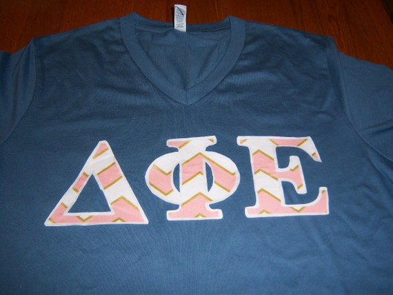 Delta Phi Epsilon Sorority Stitch Shirt V Neck Greek Letter