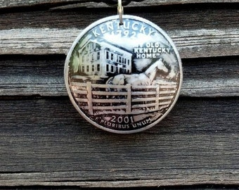 Coin jewelry domed Kentucky quarter pendant  with horses