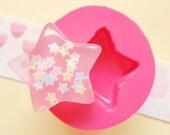 25mm Kawaii Star Flexible Silicone Mold - Decoden Kawaii Sweets Resin Fimo Polymer Clay Sculpey Wax Soap Fondant Cabochon