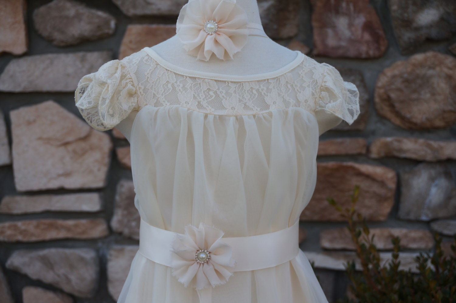 ivory Flower Girl Wedding Dressivory Lace Dress ivory