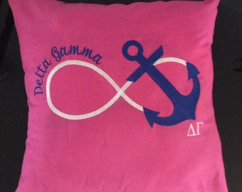 Delta Gamma Nautical Infinity Pink Embroidered Anchor Pillow