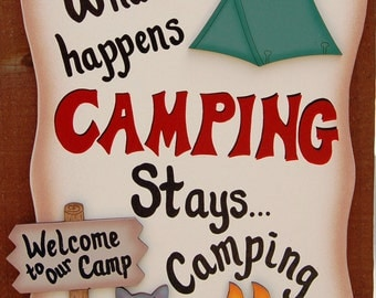 Funny Camping Sign - What Happens Camping