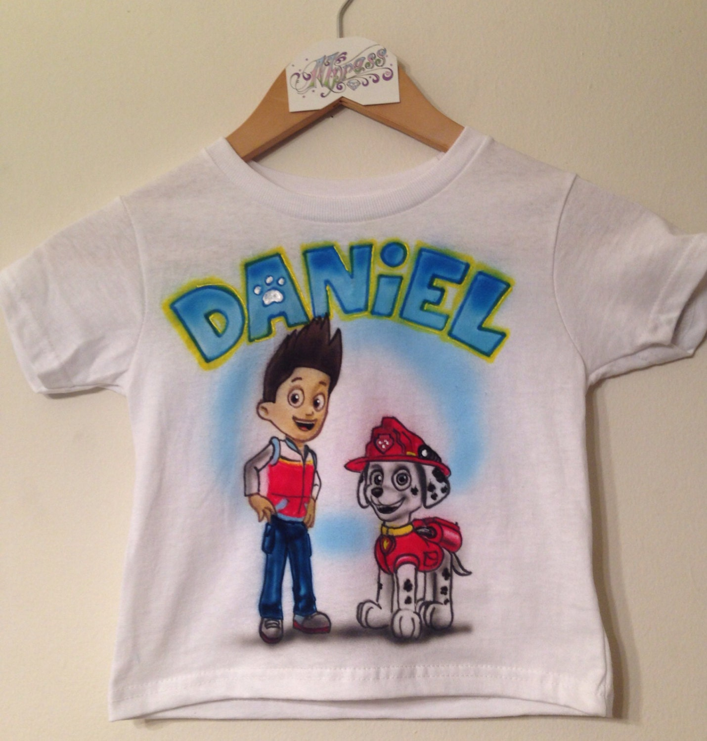 Personalized 2 character paw patrol kids airbrushed shirt for Custom made airbrushed shirts