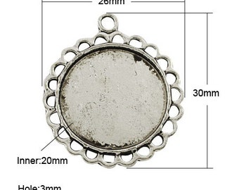 20mm Antique Silver Round Cabochon Setting, Pendant Bezel Tray, 40pcs