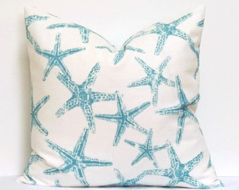 Starfish Pillow Cover, 20x20 Pillow Cover, Aqua Cushion Cover Nautical Summer Pillow, Lake Beach House Decor, Sea Friends Coastal Blue
