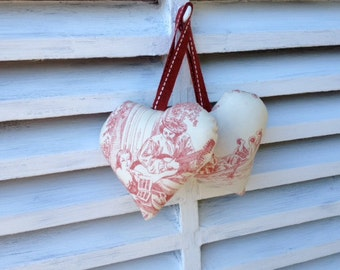 Toile de jouy, French fabric, stuffed hanging hearts for Mother's  day,  red . Shabby chic with vintage fabric loop for hanging