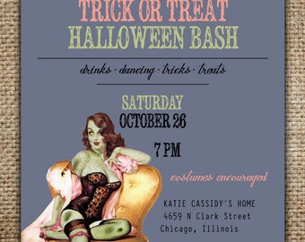 Halloween Party Invitation : Grown Up Party with Pin Up Zombie Girl, Trick or Treat