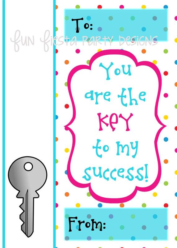 Teacher gift tag key to my success