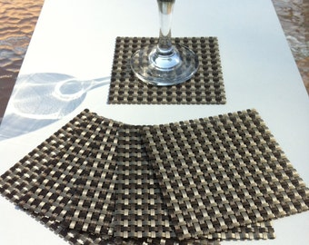 Set of Six Woven Vinyl Coasters in Light and Dark Taupe