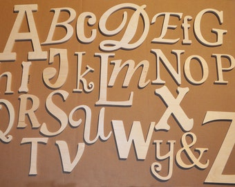 Alphabet Set Unfinished Wooden Alphabet Set Unfinished Wooden Alphabet Set in Mixed Fonts and Sizes wooden alphabet letter nursery wall art