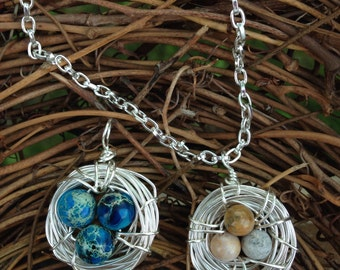 Wire wrapped bird nest pendant