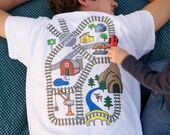 Train Play Shirt: Kids Drive Trains on Map, Back Massage for Dad, Christmas/Father's Day/Birthday Gift