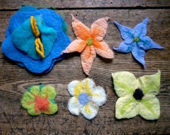 6pc Handfelted Flowers, Fine Merino Wool Roving / Lovely for Jewelry Making Crafts Applique Scrapbooking AssemblageMixed Media