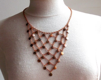 Copper plated necklace, vintage, boho jewelry, breastplate necklace, antique patina, copper plated chain, brass necklace, diy jewelry.