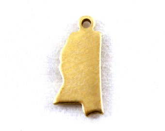 6x Blank Brass Mississippi State Charms - M073-MS