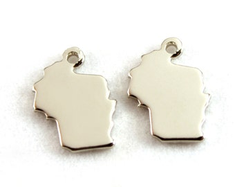 2x Silver Plated Blank Wisconsin State Charms - M070-WI