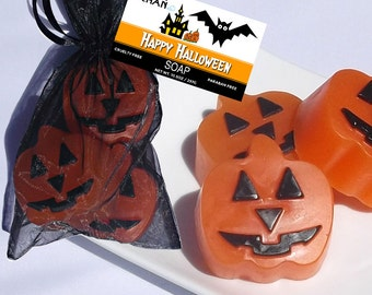 Jack O Lantern - Pumpkin Soap, Halloween Soap, Halloween Party Decor, Halloween Pumpkin Favors, Halloween Decor, Halloween Party - 3 Piece