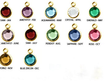 Swarovski Birthstone Channel Drop Charms - Silver or Gold; Add one for each family member to your jewelry!