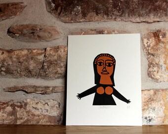 SALE Goddess Screen print in black and orange