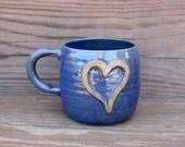 Blue Heart Mug. Large 16 Ounce Coffee Cup. Sweet Rustic Heart. I Love You  Hot Tea Mug. Ceramic Coffee Cup. Stoneware Clay Pottery.