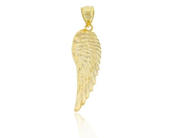 Gold Angel Wing Charm, Solid Gold, Pendant, Wing, Simple, 10K Gold, Minimalism, everyday jewelry, necklace