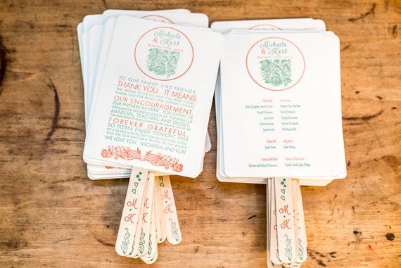 DIY Printable Beach Wedding Program Fans Hand Fan Order Of Service Fun Spring