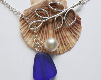 Royal Blue Sea Glass Necklace, Charm necklace, Pearl, Silver Branch, bridesmaid necklace, beach wedding.  FREE SHIPPING within the U.S.