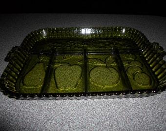 Vintage Avocado Green Indiana Glass Vegetable/Snack Tray
