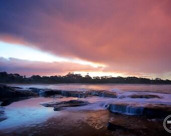 Sunset Photography, Sunset Beach Photos, Beach Photography Australia, Vibrant Sunset, Orange Pink Blue Sunset Photo