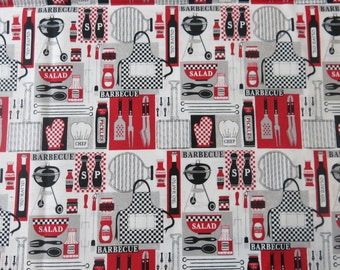 "1/2 yard of 100% cotton ""BBQ"" Fabric"