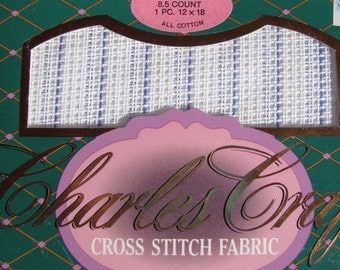 Cross stitch fabric, 8.5 count, 1 piece, 12x18 inches, all cotton, new in package