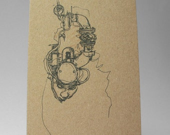 Ghost in the Machine Art Card, Dark Creepy Gothic Art Drawing 100% recycled card