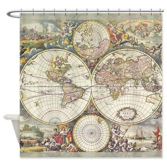 Antique world map fabric shower curtain vintage map travel like this item gumiabroncs