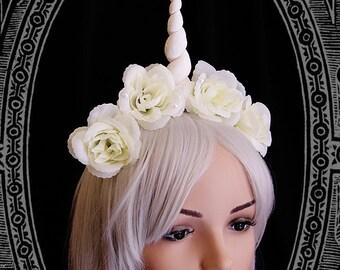 Unicorn Fascinator ( headdress, white, fantasy, burlesque, costume, fairy, roses, headpiece )