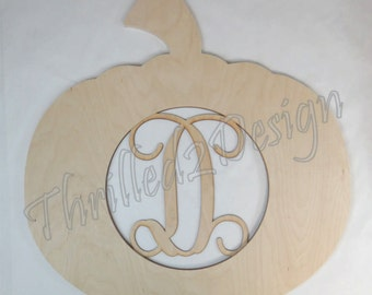 Pumpkin wooden shape with Monogram Insert - Door Hanger, Home Decoration, Wreath