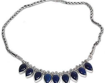 Sterling Silver and Lapis Lazuli Drops Semi collar