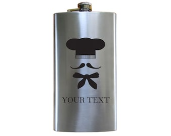 Personalized Engraved Chef, Cook, Baker 12 Oz Stainless Steel Pocket Hip Flask