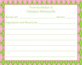Green and Pink Argyle Recipe Card